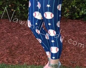 Ladies Baseball Leggings Regular and Capri length