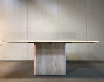 vintage travertine table / stone dining table