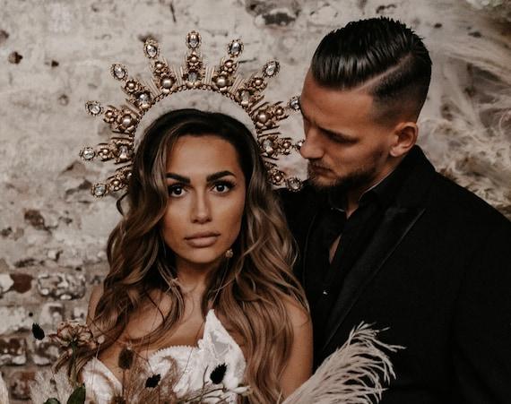 Boho Wedding, Gold Halo, Boho Wedding Crown, Wedding headpiece, Boho Wedding Tiara, Met Gala Crown, Sunburst Crown, Halo Crown, Headpiece