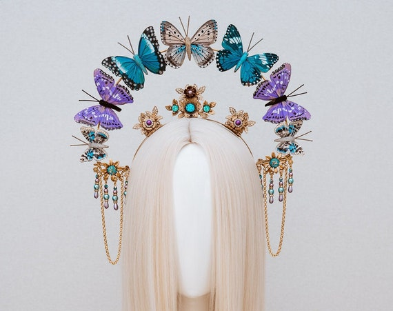 Butterfly crown, Gold Halo Crown, Halo, Halo Crown, Halo Headpiece, Halo Headband, Halo Headlights, Crown, Gold Halo, Headpiece, Crown, Boho