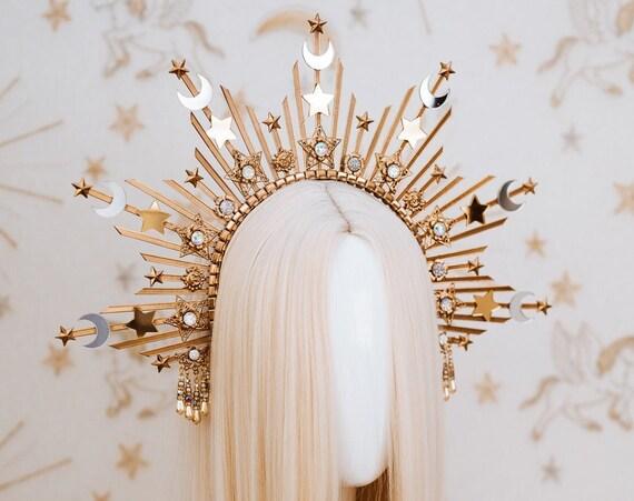 Sun Moon child Halo, Halo, Halo Crown, Halo Headpiece, Halo Headband, Halo Headlights, Crown, Gold Halo, Headpiece, Wedding Crown,Boho Stars
