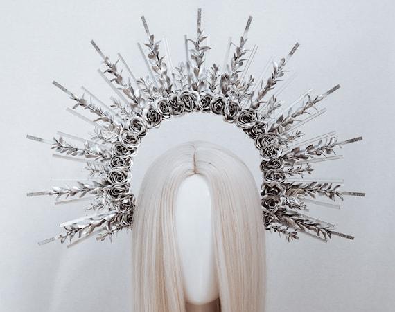 Silver Halo crown, Halo Headpiece, Silver tiara, Festival headpiece, Met Gala Crown, Wedding Crown, Flower crown, Mary Crown, Boho Crown
