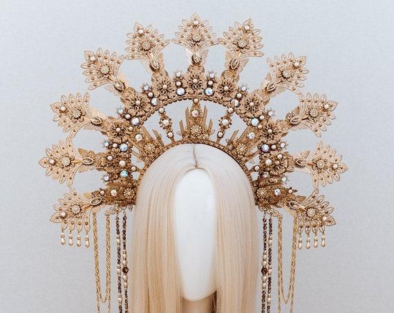 Queen Crown, Halo Crown, Gold Halo, Halo Headlights, Halo Headband, Halo Headpiece, Gold Crown, Boho Crown, Flower crown, Boho Wedding