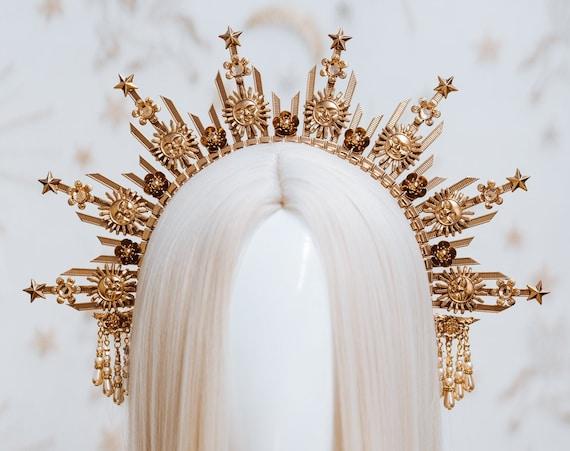 Sun crown, Moon child Halo, Halo, Halo Crown, Halo Headpiece, Halo Headband, Halo Headlights, Gold Halo, Headpiece, Wedding Crown,Boho Stars