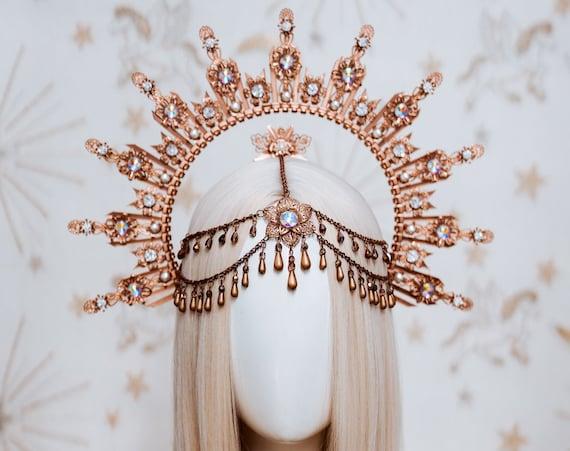 Sun crown, Moon child Halo, Halo Crown, Halo Headpiece, Halo Headband, Halo Headlights, Rose Gold Halo, Headpiece, Wedding Crown, Boho Stars