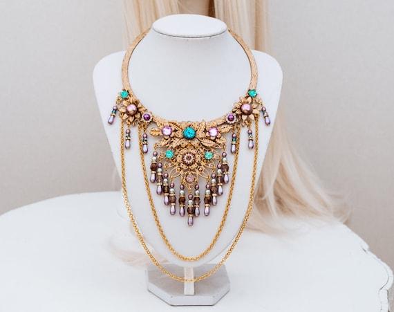 Lavender Choker necklace, Gold Choker necklace, Chain Choker necklace, Glamour Choker, Party, Lace necklace, Body Decoration, Photo props