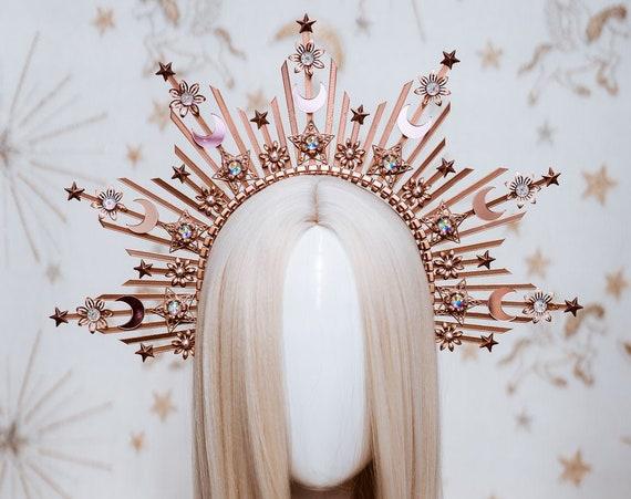 Sun crown, Moon child Halo, Halo Crown, Halo Headpiece, Halo Headband, Halo Headlights, Rose Gold Halo, Headpiece, Wedding Crown,Boho Stars
