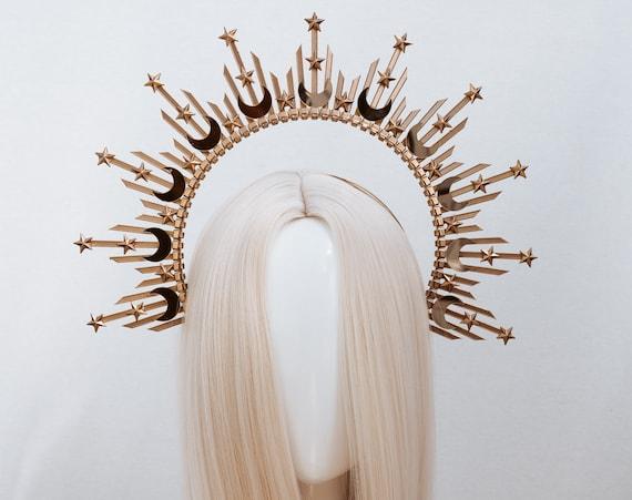 Star Gold Halo Crown, Halo, Halo Crown, Halo Headpiece, Halo Headband, Halo Headlights, Crown, Gold Halo, Headpiece, Wedding Crown, Headband