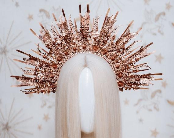 Sun crown, Flower Crown, Halo Crown, Halo Headpiece, Halo Headband, Halo Headlights, Rose Gold Halo, Headpiece, Wedding Crown, Boho Flowers