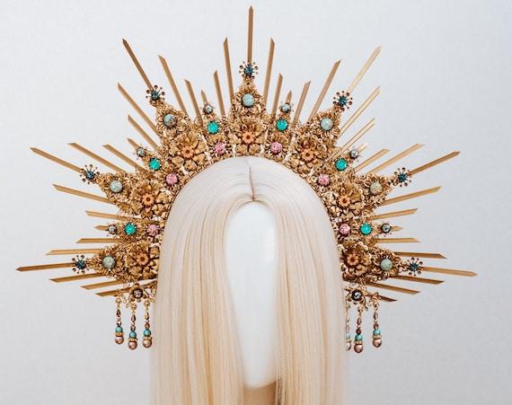Mint Halo Crown, Halo, Halo Crown, Halo Headpiece, Halo Headband, Halo Headlights, Crown, Gold Halo, Headpiece, Wedding Crown, Headband