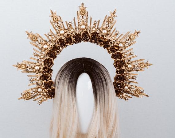 Queen Crown, Halo Crown, Gold Halo, Halo Headlights, Halo Headband, Halo Headpiece, Boho Wedding Crown, Flower crown, Flower headband, Boho