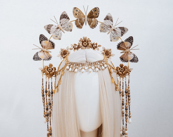 Butterfly crown, Gold Halo Crown, Halo, Halo Crown, Halo Headpiece, Halo Headband, Halo Headlights, Crown, Gold Halo, Headpiece,Boho Wedding