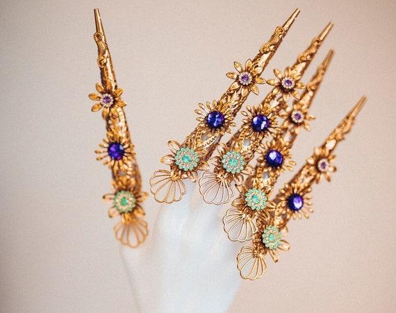Mermaid Finger Claws, Gold Bracelet, Nails Jewellery, Halloween, Filigree Jewellery, Gold Finger Jewellery, Photo props,Mermaid costume