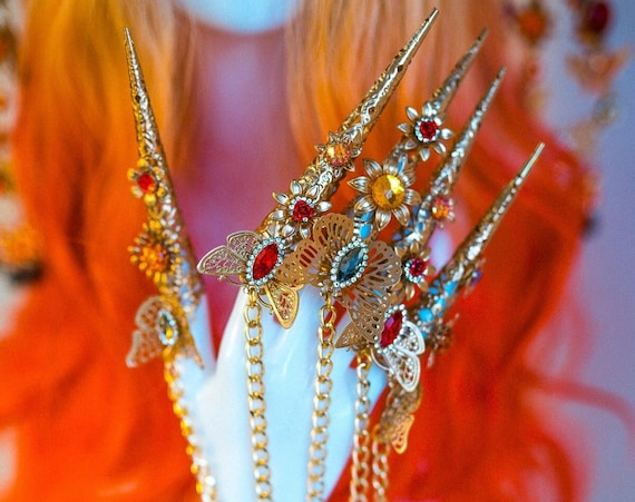 Gold Butterfly Finger Claws, Gold Bracelet, Nails Jewellery, Butterflies, Filigree Jewellery, Gold Finger Jewellery, Photo props, Red Orange