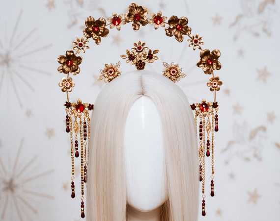 Red Roses Halo Crown, Halo Crown, Gold Halo, Halo Headlights, Halo Headband, Halo Headpiece, Gold Crown, Flower crown, Flower headpiece