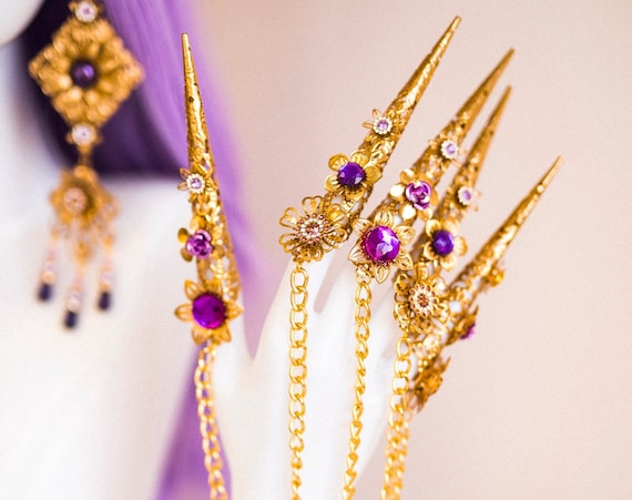Purple Flower Finger Claws, Gold Bracelet, Nails Jewellery, Butterflies, Filigree Jewellery, Gold Finger Jewellery, Photo props, Moon child