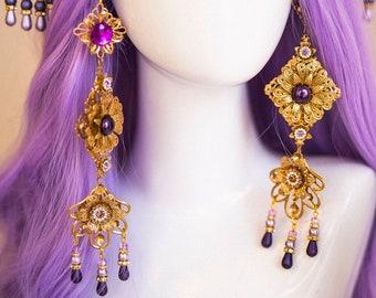Flower Earrings, Long Earrings, Gold Earrings, Butterfly Earrings,Purple Earrings, Butterflies, Flowers, Romantic Earrings, Photo Props