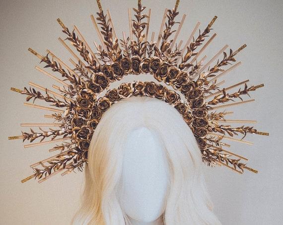 Gold Halo Crown, Halo Headpiece, Festival crown, Festival headpiece, Met Gala, Wedding Crown, Flower crown, Boho Wedding, Halo Headband