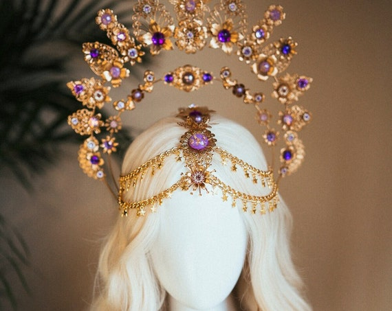 Purple Halo, Sun Jewellery, Moon child, Halo Headpiece, Halo Crown, Halo Headlights, Crown, Celestial, Headpiece, Pregnancy Photo, Goddess