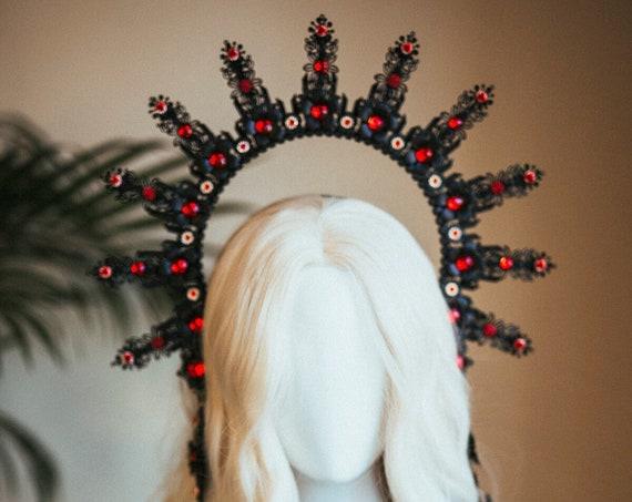 Black halo crown, Vampire costume, Halo Crown, Halo Headpiece, Halo Headband, Halo Headlights, Black Halo, Headpiece, Halloween, Sugar Skull