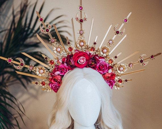 Flower Halo, Sun Jewellery, Moon child, Halo Headpiece, Halo Crown, Halo Headlights, Crown, Celestial, Headpiece, Pregnancy Photo, Goddess