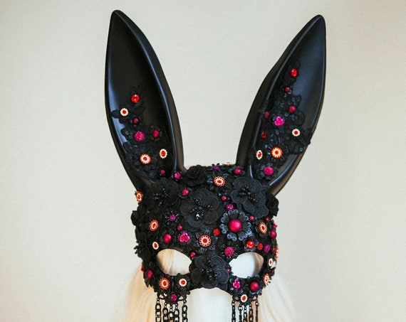 Bunny Mask, Sugar Skull, Burning man, Festival, Festival Fashion accessories, Skull, Costume Party, Halloween, Festival Crown, Rave outfit