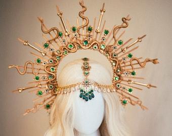 Medusa Crown, Halloween, Halo, Halo Crown, Halo Headpiece, Halo Headband, Halo Headlights, Gold Halo, Headpiece, Skulls, Spooky Halo, Snake