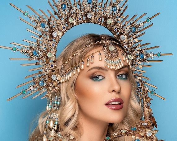 Queen Crown, Halo Crown, Gold Halo, Halo Headlights, Halo Headband, Halo Headpiece, Boho Wedding Crown, Flower crown, Photo Props, Boho