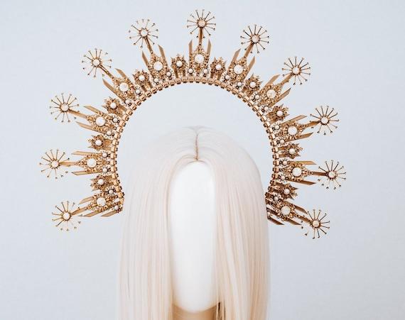 Gold Halo crown, Halo Headband, Halo headpiece, Wedding crown, Festival headpiece, Met Gala Crown, Sunburst Crown, Mary Crown, Boho Wedding