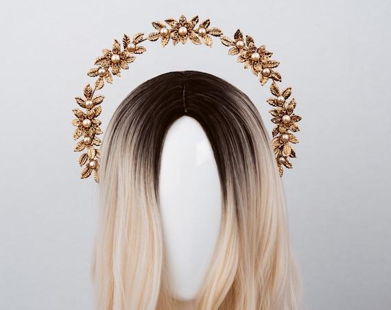 Boho Wedding, Gold Halo, Boho Wedding Crown, Wedding headpiece, Boho Wedding Tiara, Halo Crown, Butterfly Crown, Flower Crown, Butterflies