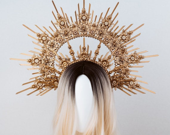 Queen Crown, Halo Crown, Gold Halo, Halo Headlights, Halo Headband, Halo Headpiece, Gold Crown, Goddess, Flower crown, Gold Halo Crown, Halo