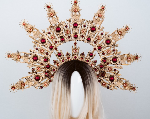 Queen Crown, Halo Crown, Gold Halo, Halo Headlights, Halo Headband, Halo Headpiece, Gold Crown, Red Crown, Flower crown, Flower Headband