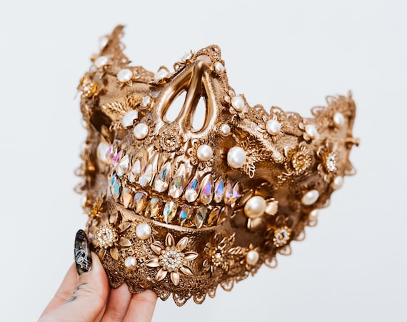 Gold Skull, Sugar Skull, Burning man, Festival, Festival Fashion accessories, Skull, Festival Muzzle, Halloween, Festival Crown, Rave outfit