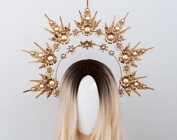 Queen Crown, Halo Crown, Gold Halo, Halo Headlights, Halo Headband, Halo Headpiece, Boho Wedding Crown, Flower crown, Boho Wedding