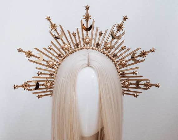Moon child Halo Crown, Halo, Halo Crown, Halo Headpiece, Halo Headband, Halo Headlights, Crown, Gold Halo, Headpiece, Wedding Crown, Stars