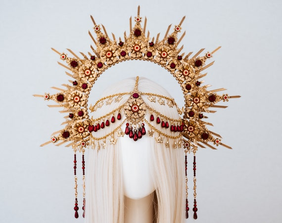 Queen Crown, Halo Crown, Gold Halo, Halo Headlights, Halo Headband, Halo Headpiece, Boho Wedding Crown, Flower crown, Beyonce Crown, Boho