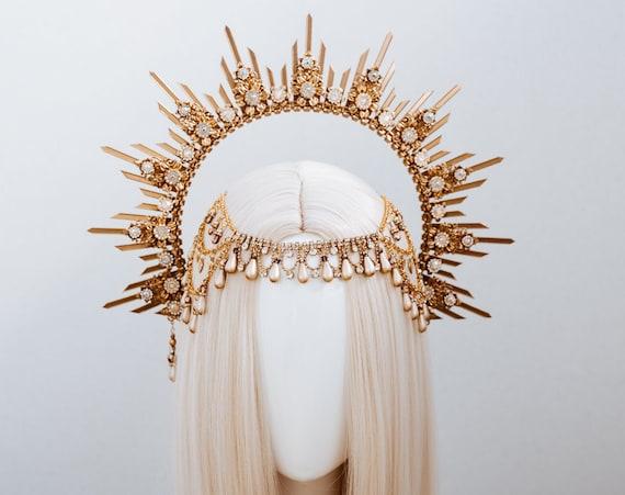 Gold Halo Crown, Halo, Halo Crown, Halo Headpiece, Halo Headband, Halo Headlights, Crown, Gold Halo, Headpiece, Wedding Crown, Headband