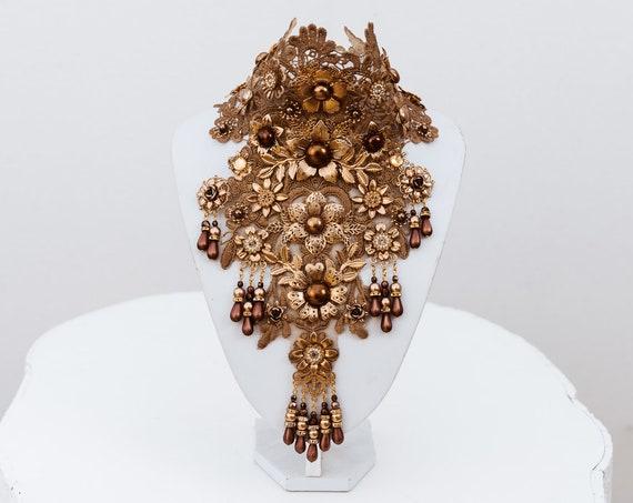 Lace Choker necklace, Gold Choker necklace, Chain Choker necklace, Glamour Choker, Party, Handmade necklace, Body Decoration, Festival, Boho