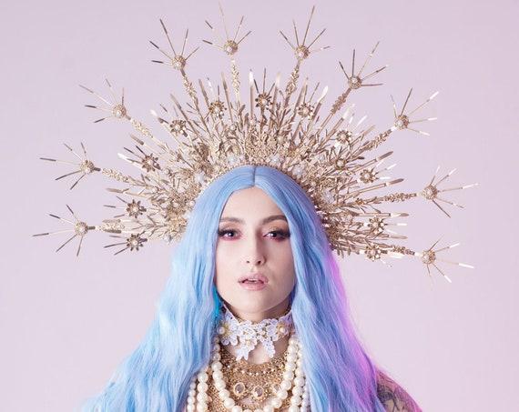 Gold Halo Crown, Halo Headpiece, Festival crown, Festival headpiece, Flower Crown, Wedding Crown, Halo crown, Boho Wedding, Halo Headband