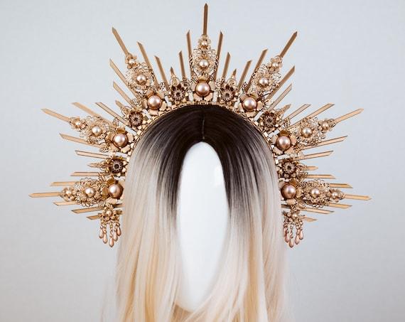 Dust Pink Halo Crown, Halo, Halo Crown, Halo Headpiece, Halo Headband, Halo Headlights, Crown, Gold Halo, Headpiece, Wedding Crown, Headband