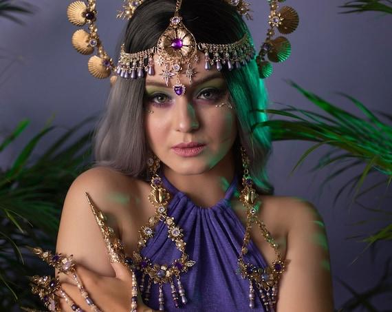 Mermaid earrings, Long Earrings, Gold Earrings, Flower earrings,Blue earrings, Butterfly Earrings, Flowers, Romantic earrings, Photo props