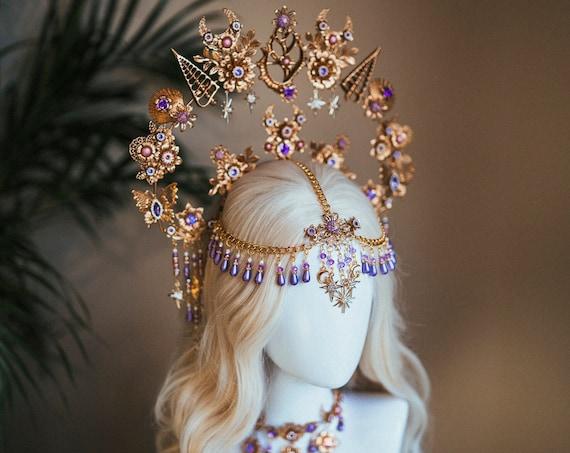 Mermaid Halo, Sun Jewellery, Moon child, Halo Headpiece, Halo Crown, Halo Headlights, Crown, Celestial, Headpiece, Pregnancy Photo, Goddess