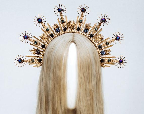 Gold Halo Crown, Halo Headpiece, Festival crown, Festival headpiece, Moon child, Wedding Crown, Halo crown, Boho Wedding, Halo Headband, Sun