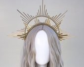 Gold Halo crown, Simple Halo Headpiece, Festival crown, Festival headpiece, Met Gala Crown, Sunburst Crown, Gold Zip Tie Crown, Mary Crown