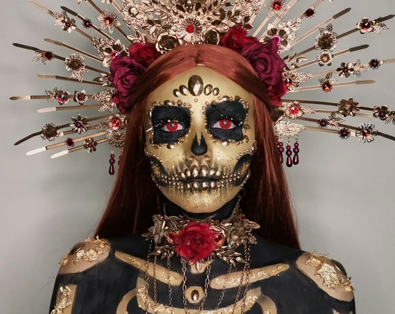 Choker necklace, Gold Choker necklace, Flower Choker, Glamour Choker, Party, Handmade necklace, Festival, Halloween, Sugar Skull, Red rose