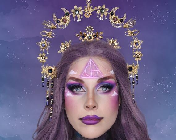Halloween, Moon child Halo, Halo, Halo Crown, Halo Headpiece, Halo Headband, Halo Headlights, Gold Halo, Headpiece, Witch crown,Spooky,Skull