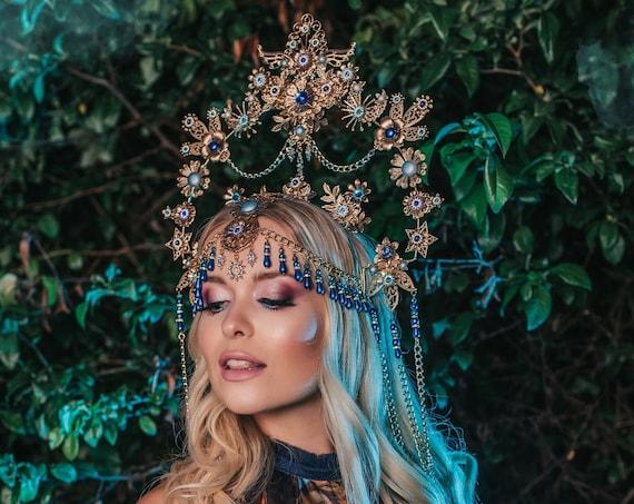Blue Halo, Sun Jewellery, Moon child, Halo Headpiece, Halo Crown, Halo Headlights, Crown, Celestial, Headpiece, Pregnancy Photo, Goddess