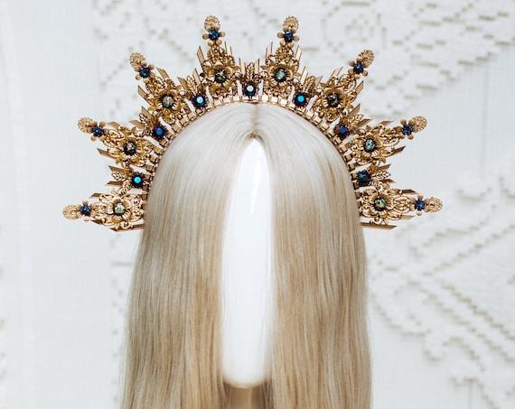 Gold Halo Crown, Halo Headpiece, Festival crown, Festival headpiece, Moon child, Wedding Crown, Halo crown, Boho Wedding, Halo Headband