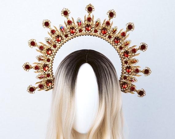 Red Halo Crown, Halo, Halo Crown, Halo Headpiece, Halo Headband, Halo Headlights, Crown, Gold Halo, Headpiece, Wedding Crown, Headband