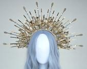 Gold Halo crown, Glitter Halo Headpiece, Festival crown, Festival headpiece, Met Gala Crown, Sunburst Crown, Gold Zip Tie Crown, Mary Crown